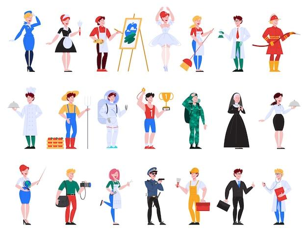 Set di professione. raccolta di occupazione, lavoratore maschile e femminile in uniforme