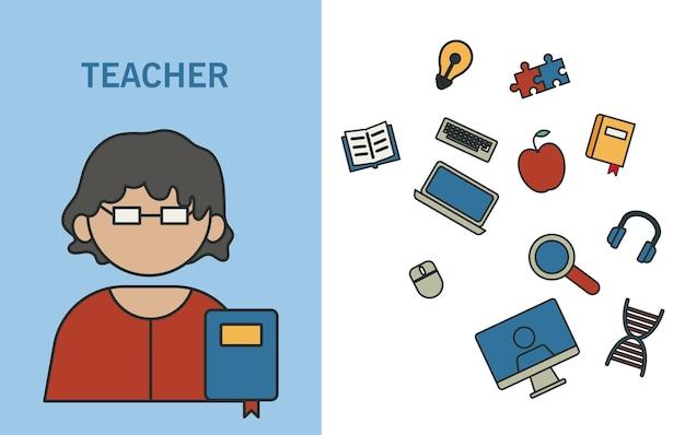Insegnante di professione con icone di istruzione riempiono lo stile