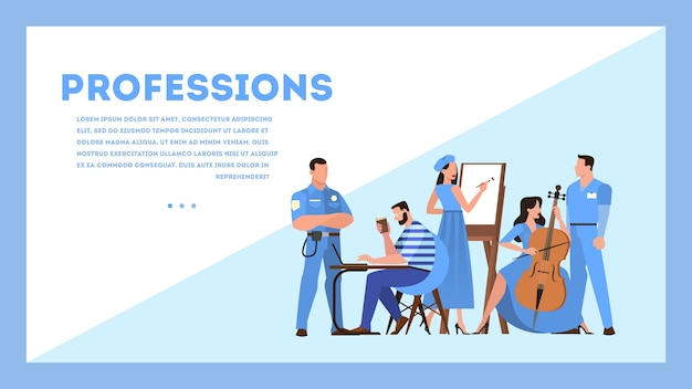 Concetto di banner web di professione. raccolta di occupazione, lavoratore maschile e femminile in uniforme. dottore, agente di polizia e artista. illustrazione