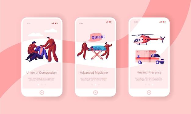 Set di schermo a bordo della pagina dell'app per dispositivi mobili per la salute del team di ambulanza professionale.