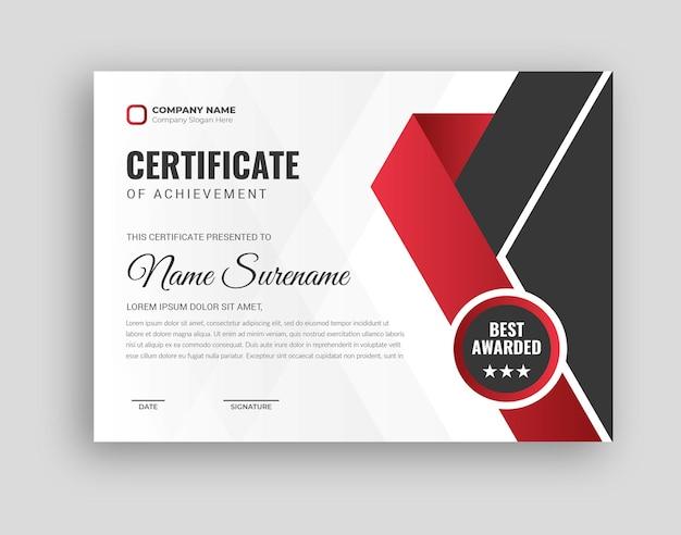 Modello di certificato di premio professionale in disegno astratto