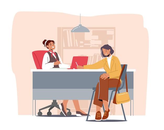 Servizio bancario professionale, cliente donna e banchiere nello sportello bancone dell'ufficio della banca. responsabile finanziario e cliente