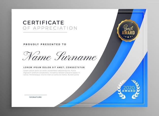 Certificato blu professionale del modello di apprezzamento