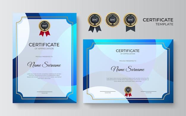 Modello di certificato blu professionale in stile premium. modello di certificato di apprezzamento con elemento decorativo dorato. diploma di design diploma, premio. illustrazione vettoriale