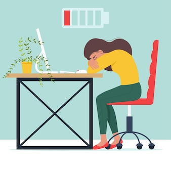Concetto di burnout professionale gestore femminile esausto seduto a un tavolo lavoratore frustrato con problemi di salute mentale in stile piatto
