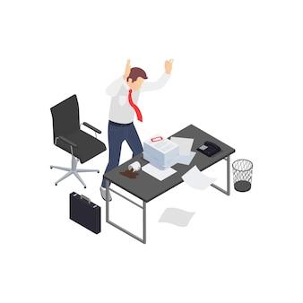 Composizione isometrica di frustrazione depressione burnout professionale con lavoratore arrabbiato e pila di scartoffie