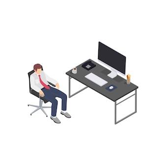Composizione isometrica di frustrazione depressione burnout professionale con lavoratore di affari rilassato