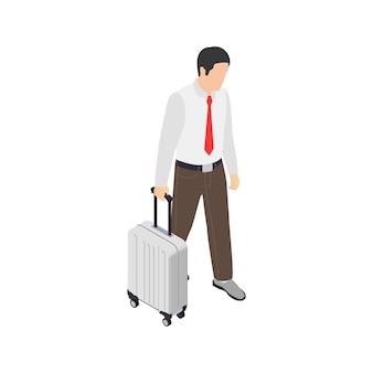 Composizione isometrica di frustrazione depressione burnout professionale con carattere di lavoratore di affari con la valigia