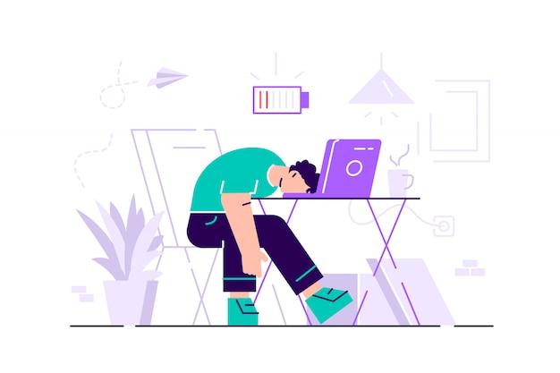 Burnout professionale. lunga giornata. millennials al lavoro. illustrazione piatta.