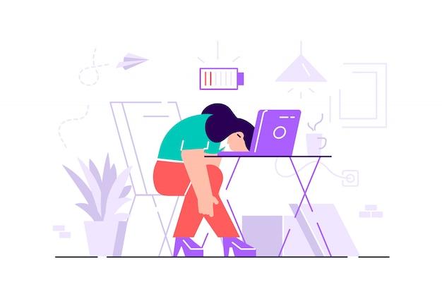 Burnout professionale. lunga giornata di lavoro. millennials al lavoro. illustrazione piatta