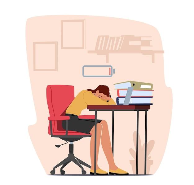 Burnout professionale, stanchezza da superlavoro, affaticamento e concetto di depressione. stanco sovraccarico donna d'affari con poca energia