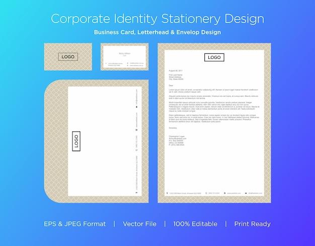 Biglietto da visita professionale, carta intestata e modello struttura busta