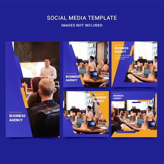 Modello di social media aziendali professionali con colore blu e giallo