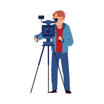 Cameraman professionista o operatore video che gira un video, piatto