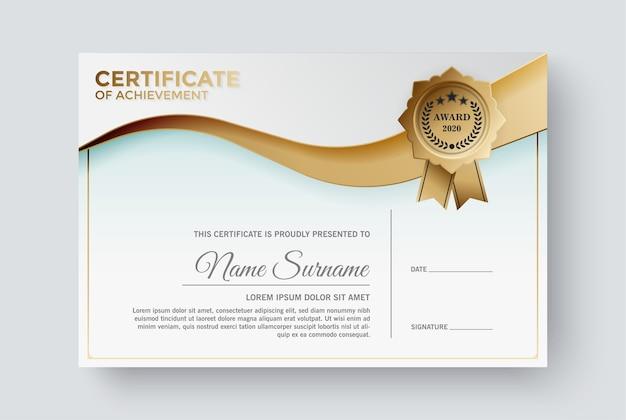 Premio diploma modello di certificato professionale