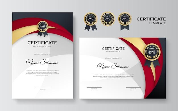 Modello di certificato professionale in stile premium. modello di certificato di apprezzamento con elemento decorativo dorato. diploma di design diploma, premio. illustrazione vettoriale