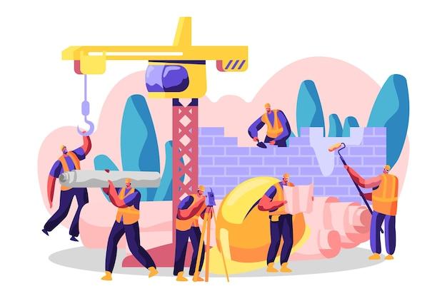 Personaggio professionale costruisci una nuova costruzione, analizza il piano e il luogo, costruisci una residenza, un centro commerciale o un negozio. pittura murale e posa di mattoni. illustrazione di vettore del fumetto piatto