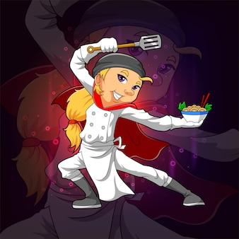 Lo chef professionista sta servendo una tagliatella per il design della mascotte esport dell'illustrazione