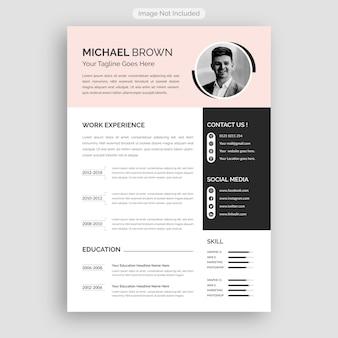 Curriculum professionale e pulito o modello di cv del lavoro.