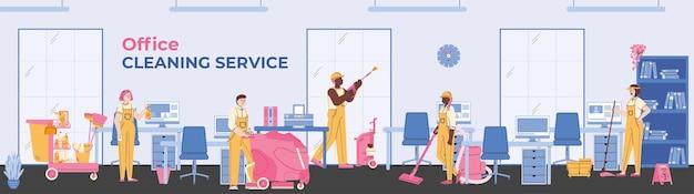 Il team di addetti alle pulizie professionali del servizio di pulizia pulisce in ufficio un banner vettoriale