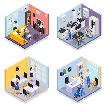 Un insieme isometrico di servizio di pulizia professionale di quattro composizioni isolate con varie stanze che vengono pulite dall'illustrazione dei lavoratori