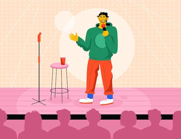 Comico professionista esibendosi in spettacolo in piedi sul palco