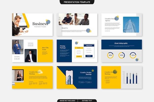 Set di modelli di diapositive di presentazione aziendale professionale minimalista