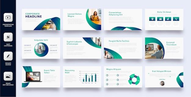 Insieme di modelli di diapositiva di presentazione aziendale professionale