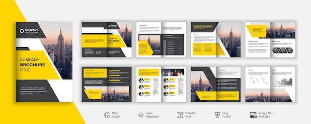 Identità visiva aziendale professionale o profilo aziendale design brochure di 16 pagine