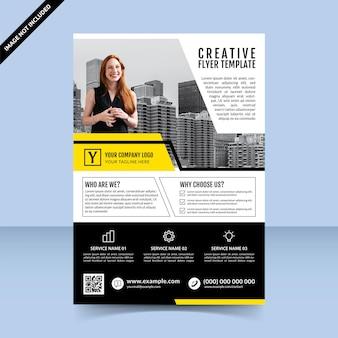 Modello di volantino creativo professionale design nero giallo