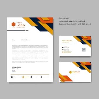 Modello vettoriale di carta intestata creativa professionale e biglietto da visita