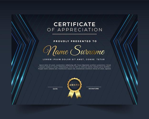 Un modello di certificato professionale, creativo e unico