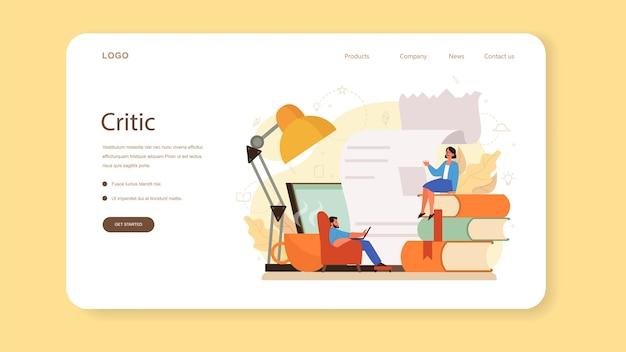 Banner web o pagina di destinazione per critici professionisti. creazione di giornalisti