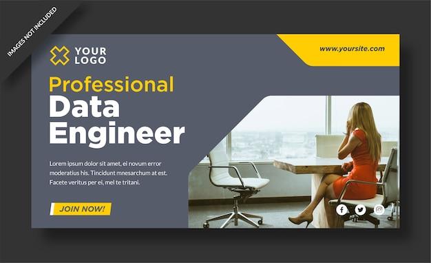 Web banner professionale di ingegnere di dati