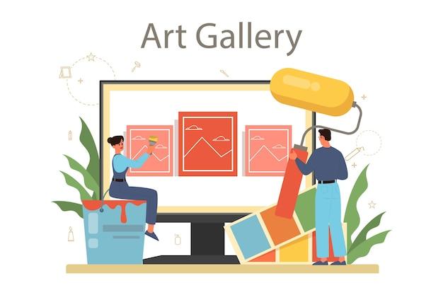 Piattaforma o servizio online di decoratore professionista. designer che pianifica il design di una stanza, scegliendo il colore delle pareti e lo stile dei mobili. galleria in linea.