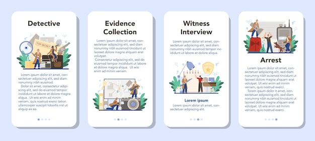 Set di banner per applicazioni mobili detective professionale