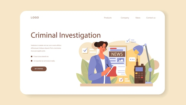 Banner web detective professionale o pagina di destinazione. agenzia che indaga su un luogo del crimine e cerca indizi. persona che risolve il crimine raccogliendo prove fisiche. illustrazione piatta vettoriale