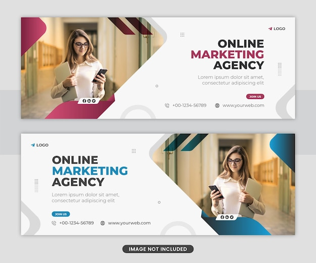 Modello di banner web di copertina di facebook per agenzia di marketing digitale professionale