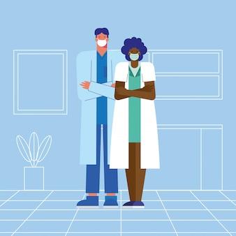 Coppia di medici professionisti che indossano maschere mediche