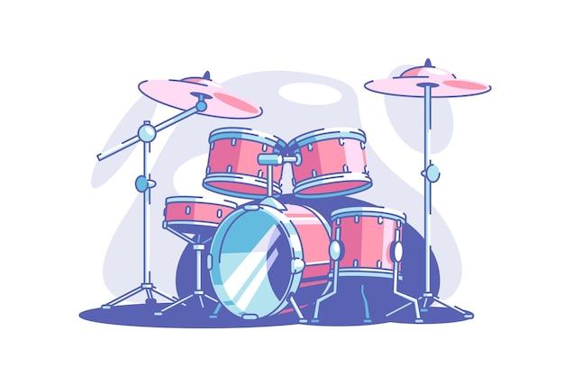 Attrezzatura professionale dell'illustrazione di vettore dell'insieme del tamburo per la prestazione di genere musicale di stile piano della banda e il concetto di arte e musica di intrattenimento di concerto isolato