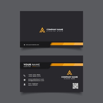 Modello professionale per biglietto da visita moderno elegante nero e arancione