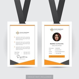 Modello di carta d'identità del dipendente professionale