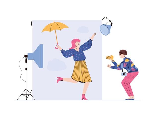 Scena di sessione fotografica di moda professionale con fotografo e personaggi dei cartoni animati modello