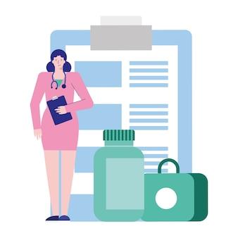Medico femminile professionista con lista di controllo e illustrazione di carattere avatar di droghe
