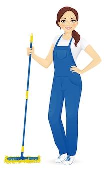 Detergente professionale per pavimenti femminile in piedi con illustrazione di mop