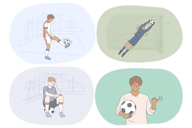 Giocatore di calcio professionista, pallone da calcio e concetto di partita.