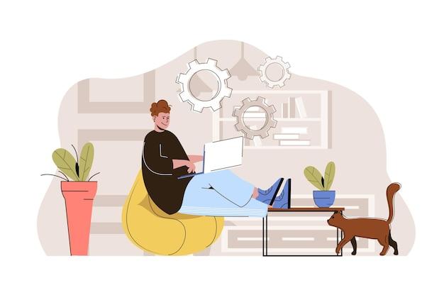 Freelance professionista concetto uomo lavora su laptop da casa lavoro remoto