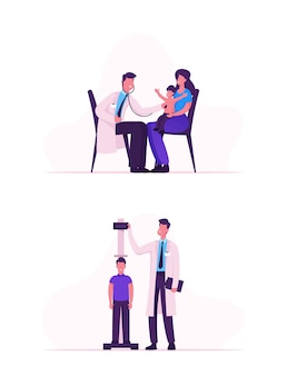 Medico pediatra medico generale professionista ascolta il suono del cuore e del polmone del paziente bambino con lo stetoscopio e l'altezza di misurazione. cartoon illustrazione piatta