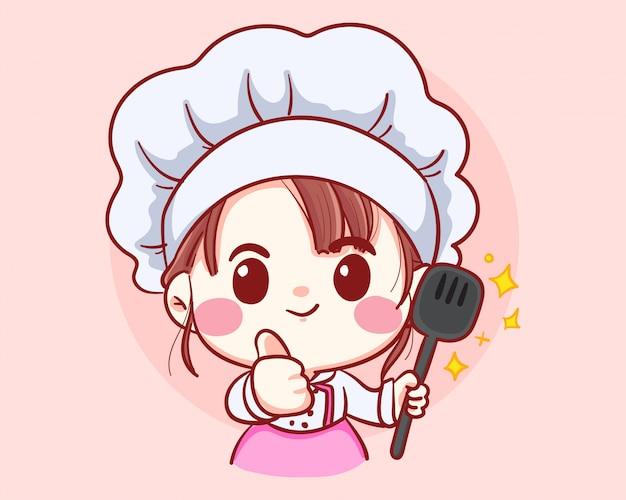 Chef professionale ragazza con mestolo nelle mani, occupazione, cucina, menu, cucina, stoviglie, cucina, panetteria logo illustrazione arte del fumetto.
