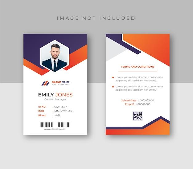 Carta d'identità professionale con foto
